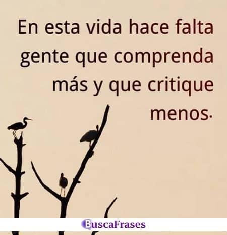 Hay que comprender más y criticar menos