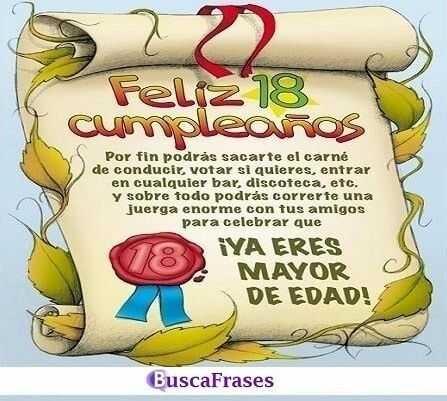 Felicitaciones de cumpleaños para 18 años