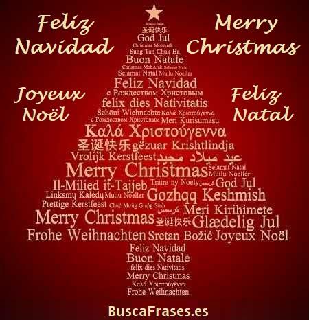 Tarjetas de Feliz Navidad en varios idiomas